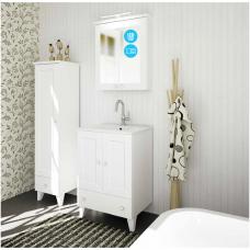 Raguvos baldai trijų dalių komplektas su veidrodine spintele ir apšvietimu Siesta 60
