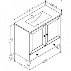 Raguvos baldai trijų dalių komplektas su veidrodine spintele ir apšvietimu Siesta 90