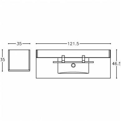 Trijų dalių baldų komplektas su veidrodine spintele ir šviestuvu Kamė Adagio 120 3