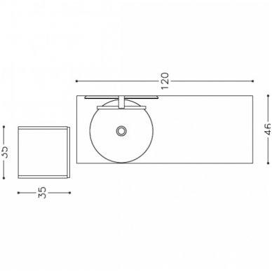 Trijų dalių baldų komplektas su veidrodžiu ir šviestuvu Kamė Adagio 120 6