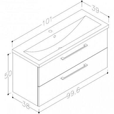 Raguvos baldai trijų dalių komplektas su veidrodine spintele ir apšvietimu Scandic 100 3