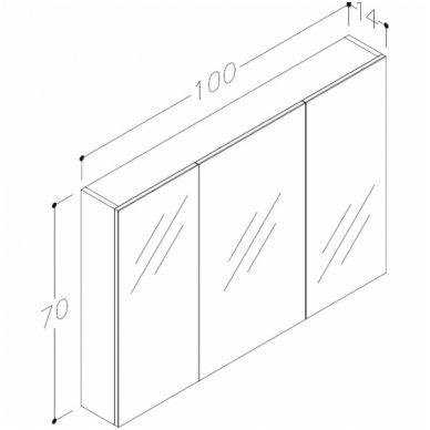 Raguvos baldai trijų dalių komplektas su veidrodine spintele ir apšvietimu Scandic 100 4