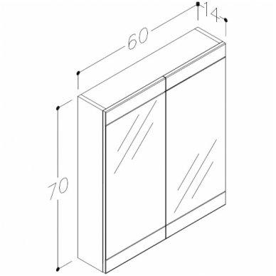 Raguvos Baldai trijų dalių komplektas su veidrodine spintele iš šviestuvu Serena Retro 60 2