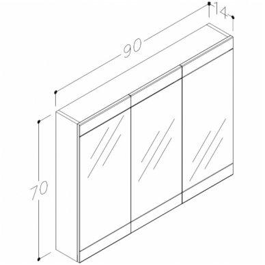 Raguvos Baldai trijų dalių komplektas su veidrodine spintele ir šviestuvu Serena Retro 90 2