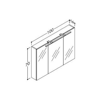 Raguvos Baldai Scandic veidrodinė spintelė su LED apšvietimu 1000x700 mm 2