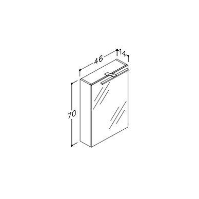 Raguvos Baldai Scandic veidrodinė spintelė su LED apšvietimu 460x700 mm 2