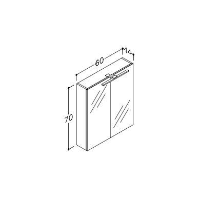 Raguvos Baldai Scandic veidrodinė spintelė su LED apšvietimu 600x700 mm 2