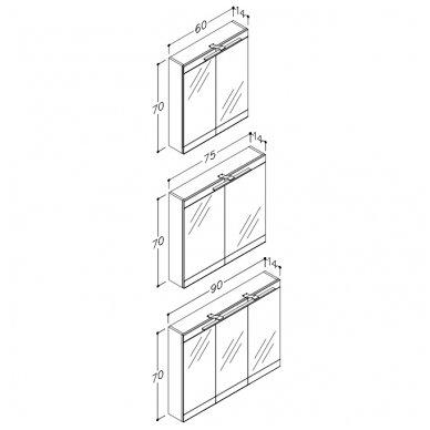 Raguvos Baldai veidrodinė spintelė su LED apšvietimu Serena Retro 60/75/90 4