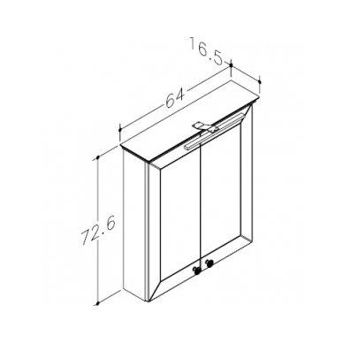Raguvos Baldai Siesta veidrodinė spintelė 640x726 mm su LED apšvietimu 2