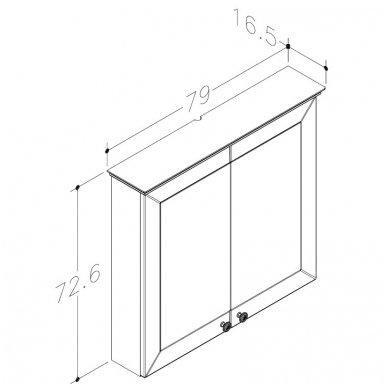 Raguvos Baldai Siesta veidrodinė spintelė 790x726 mm 2