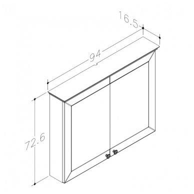 Raguvos Baldai Siesta veidrodinė spintelė 940x726 mm 2