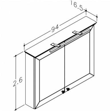 Raguvos Baldai Siesta veidrodinė spintelė 940x726 mm su LED apšvietimu 2