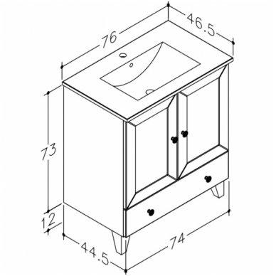 Raguvos Baldai spintelė su praustuvu Siesta 760x730 mm 3