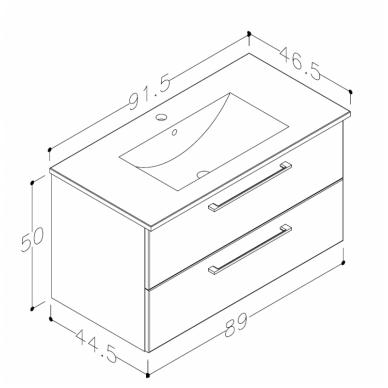 Raguvos baldai trijų dalių komplektas su veidrodžiu ir šviestuvu Allegro 90 9