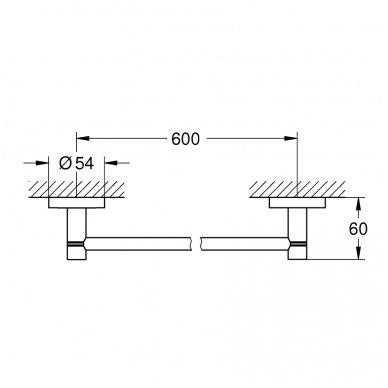 Rankšluosčių kabykla Grohe Essentials 600 mm 2