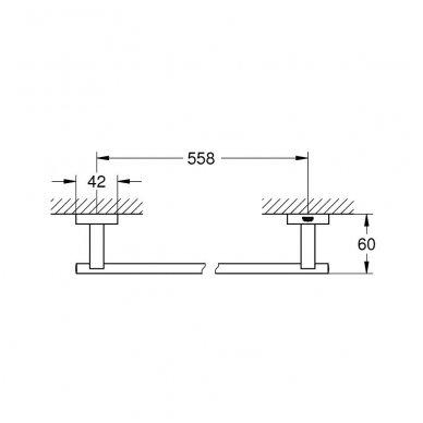 Rankšluosčių kabykla Grohe Essentials Cube 558 mm 2
