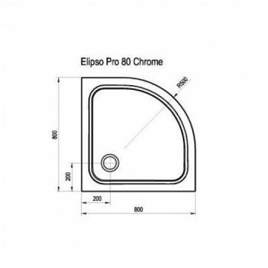 Ravak pusapvalis dušo padėklas Elipso Pro Chrome 800x800 2