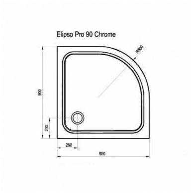 Ravak pusapvalis dušo padėklas Elipso Pro Chrome 900x900 2