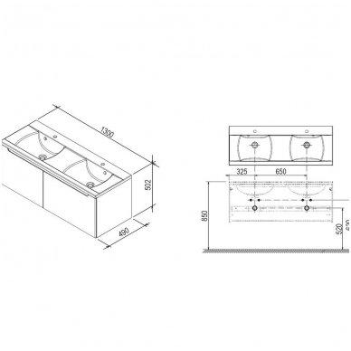 Ravak spintelė su dviem giliais stalčiais SD Classic 1300 4