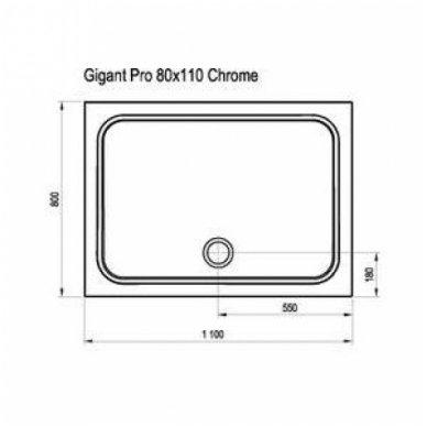 Ravak stačiakampis dušo padėklas Gigant Pro Chrome 1100x800 3