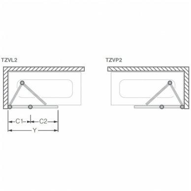 Roltechnik vonios sienelė TZVL2/TZVP2 1000 2