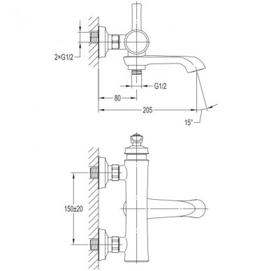 Sendinto vario spalvos maišytuvas voniai Omnires Armance AM5230 ORB 2