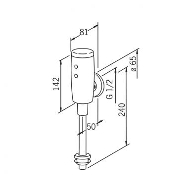 Sensorinis čiaupas pisuarui Oras su maitinimu 6V baterija 4