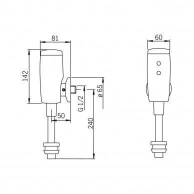 Sensorinis čiaupas pisuarui Oras su maitinimu 6V baterija 5