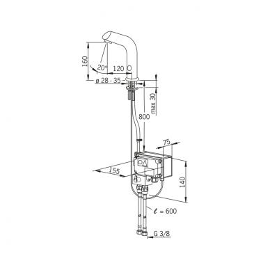 Sensorinis maišytuvas praustuvui Oras su stacionariu 230V maitinimu 4