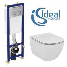 Siauro WC rėmo ir pakabinamos klozeto Ideal Standard Tesi Aquablade komplektas
