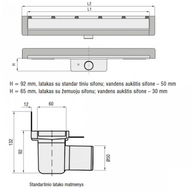 Sieninis dušo latakas ACO ShowerDrain W su įklijuojama plytele 5