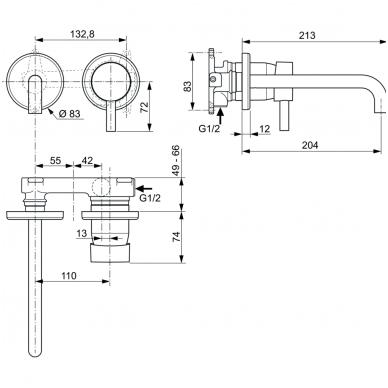 Sieninis maišytuvas praustuvui Ideal Standard Ceraline 2