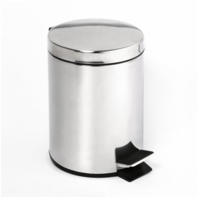 Šiukšliadėžė nerūdijančio plieno blizgi Bemeta 5l