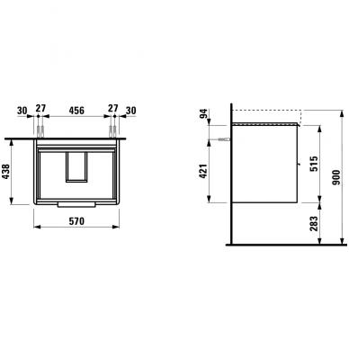Spintelė su praustuvu Laufen Pro S 60x46,5cm 5