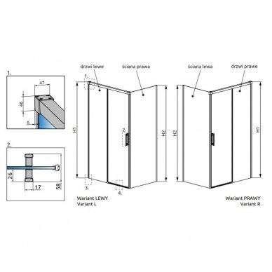 Keturkampė dušo kabina Radaway Idea Black KDJ 5