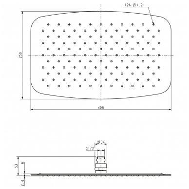 Stacionari dušo galva Omnires Ultra SlimLine WGU340 2