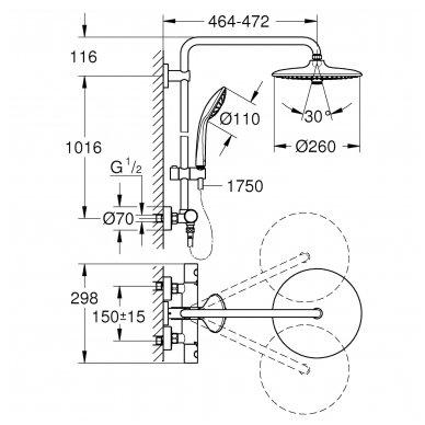 Stacionari dušo sistema Grohe Euphoria 260 su termostatiniu maišytuvu ir lietaus zonų reguliavimu 5