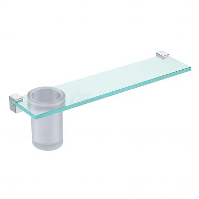 Stiklinė lentynėlė su stiklinėle ir laikikliais, 400 mm, chromas