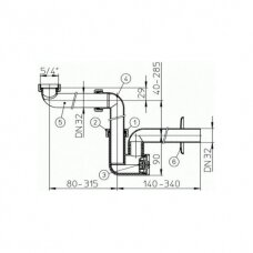 Taupantis vietą sifonas praustuvams HL137 (DN32)