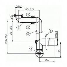 Taupantis vietą sifonas praustuvams HL137 (DN40)