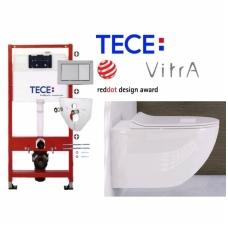 TECE potinkinio rėmo komplektas + klozetas VITRA SENTO