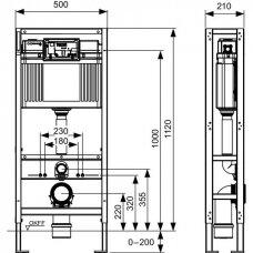 TECEconstruct unitazo modulis su keturiomis tvirtinimo kojomis ir Uni vandens bakeliu