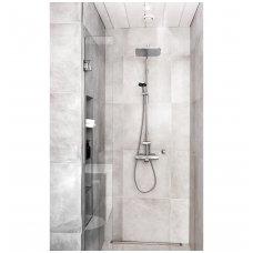 Termostatinė lietaus dušo sistema Oras Optima su trumpu snapu, rankiniu dušu ir aksesuarais