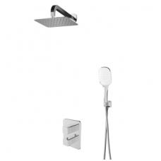 Termostatinė potinkinė dušo sistema Omnires Parma su stacionaria 25 cm metaline dušo galva
