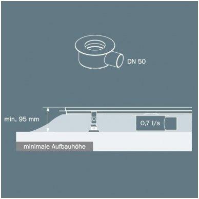"""TECElinus dušo latako komplektas su dvipusėmis grotelėmis """"steel/plate"""" """"2 in 1"""" 3"""