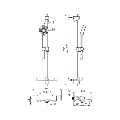 Termostatinis vonios maišytuvas su dušo komplektu Oras Nova 7414U 3