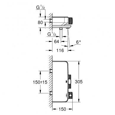 Termostatinis vonios/dušo maišytuvas Grohe Grohtherm SmartControl su lentynėle 3