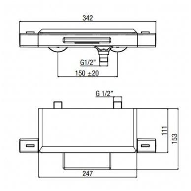 Termostatinis vonios/dušo maišytuvas su lentynėle Alpi Naboo 3