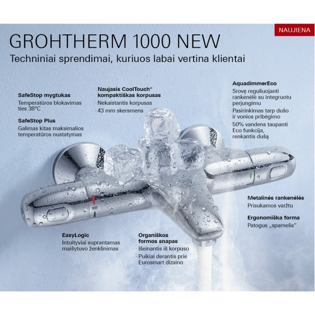 Grohe Grohtherm 1000 New.Termostatinis Vonios Maisytuvas Grohe Grohtherm 1000 New Vandens
