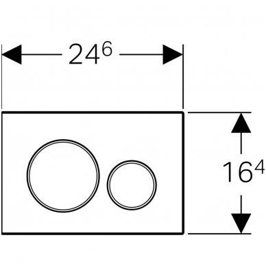 Vandens nuleidimo mygtukas iš nerūdijančio plieno Geberit Sigma 20 2